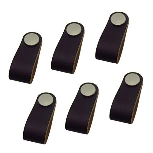 FLAMEER 6X Moderne Design Möbelgriff Ledergriff Knopf Schrankgriff Lederschlaufe Griff, Schwarz