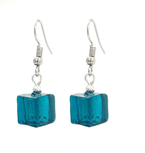 Stilvolle Schmuck venezianischen Smaragd/Silber Murano Glas Cube Geformt Drop Dangling Ohrringe