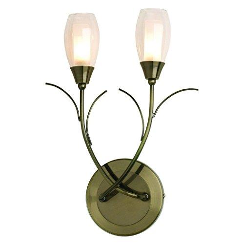 The Lighting & Interiors Group Iris 2Licht Wandhalterung Messing Antik (2-licht Wandleuchte Antik)
