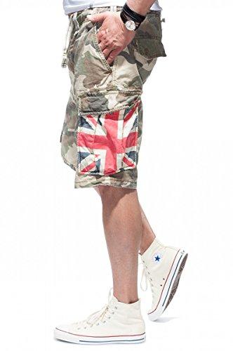 JET LAG Cargo Shorts SO16-22 army green camouflage UK Union Jack Camouflage