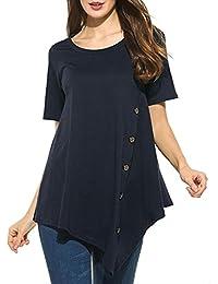 Mujer Blusa verano,Sonnena ❤️ ❤️ Talla grande extra Suelto blusa manga corta con lentejuelas decoración para prime mujer casual elegante blusa de verano fresco para citas Actividades