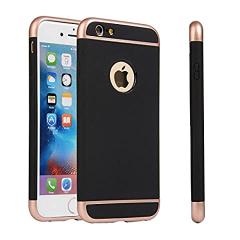iPhone SE 5SE 5 5S Case, Moonmini® 3 in 1 Hybrid Soft TPU Hard PC Back Rubber Armor Case Cover for iPhone SE 5SE 5 5S - Black + Rose