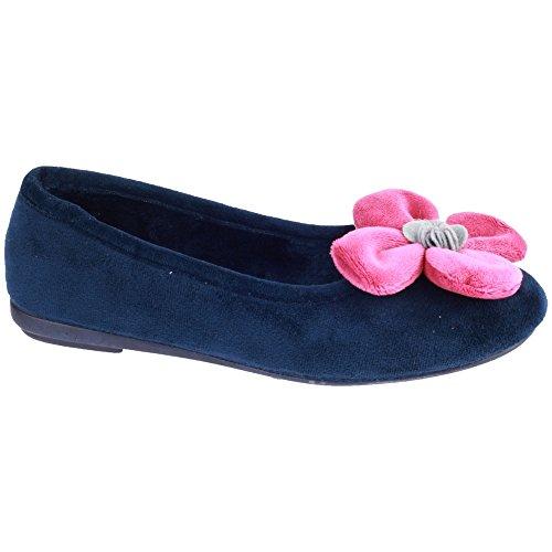 Cotswold Ladies Leafield Fleece Flower Detail Slipper Shoe Navy Navy