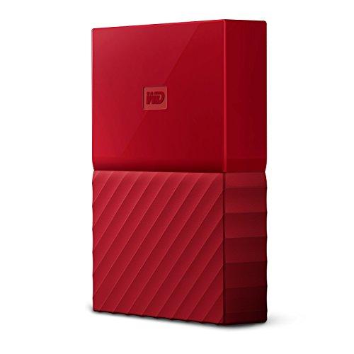 Mobile 3 TB-Festplatte WD My Passport WDBYFT0030BRD-WESN (rot), mit Kennwortschutz u. Software für autom. Datensicherung