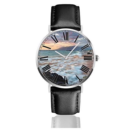 PecoStar Wailea Makena Beach Maui Hawaii Schöne Sunset Sea Waves Clouds Herren Damen Quarz Designer Armbanduhr Analog-Anzeige und Lederband - Wasserfeste Armbanduhr