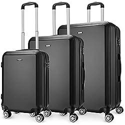 Amasava Set de 3 Valises Rigides Légeres à 4 roulettes,Valise ABS, Bagage Rigide Résistante pour Voyages Taille Moyenne 55cm/43L,65cm/65L,75cm/103L, Noir
