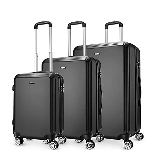 Amasava SET di valigie rigide ABS hard shell super leggero da viaggio Carry On trolley 8 ruote valigia,55cm/43L,65cm/67L,75cm/103L, Nero