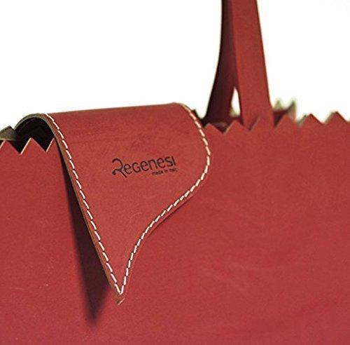 Regenesi Shorty Fruit Bag, Borsa baguette, accessorio di design in pelle rigenerata prodotta a mano in Italia Rosso