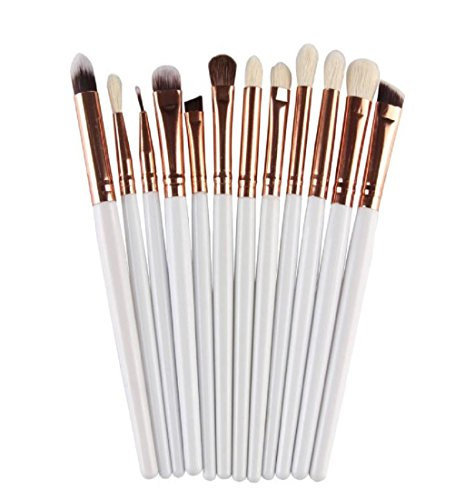 LONUPAZZ 12 pcs/set maquillage brush set makeup brushes kit outils maquillage professionnel maquillage pinceaux yeux pinceau pour les lèvres Blanc