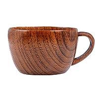 """♥ Spécifications: Matériau: Bois de Jujube de haute qualité Couleur: café Capacité: 260 ml Taille: Diamètre Supérieur: 9cm / 3.54 """" Diamètre inférieur: 5.5cm / 2.17 """" Hauteur: 6.5cm / 2.56 """" Qté: 1  ♥ Forfait inclus: 1x coupe en bois fait à la main"""