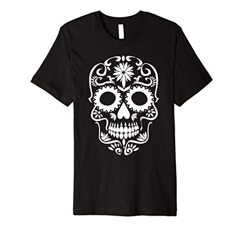 Weiß Tag der Toten T-Shirt Sugar Skull Dia de los Muertos