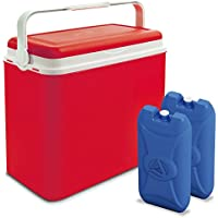 ADRIATIC Large 24 Litre Cooler Box Camping Beach Lunch Picnic Insulated Food+ 2 Ice Packs (Cooler Box + 2 Ice Packs, Red)