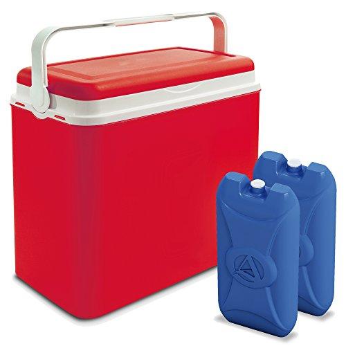 Große 24-Liter-Kühlbox, Camping, Strand, Lunch, Picknick, für isolierte Speisen + 2Kühlakkus, rot, Cooler Box + 2 Ice Packs Auto-kühler-plug-in