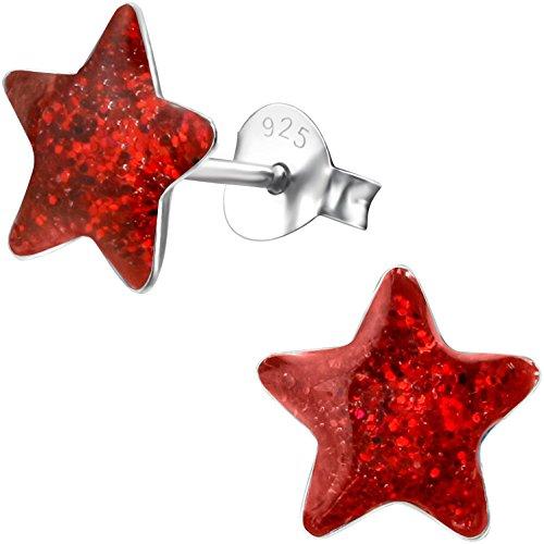 JAYARE Mädchen-Ohrringe Sterne 925 Sterling Silber 9 mm rot Glitzer Ohrstecker für Kinder Stern im Geschenk-Etui Rote 9