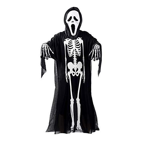 FairytaleMM Schädel-Skeleton Geist Kostüm Halloween-Abendkleid + Teufel Maske + Handschuhe