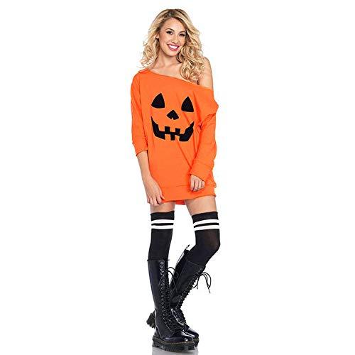 OSYARD Damen Halloween Kürbis Kostüm Kleid Knöchellänge, Frauen Langarm Off Schulter KüRbis KostüM Kleid Halloween Fancy Kleid Pullover Hoodies Kleid (S, Orange)