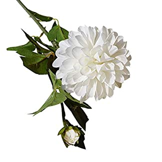 LbojailiAi Flor Artificial 1 Pieza Flor Artificial Dalia Planta hogar Jard¨ªn Escenario Boda Fiesta Bricolaje decoraci¨®n – Blanco