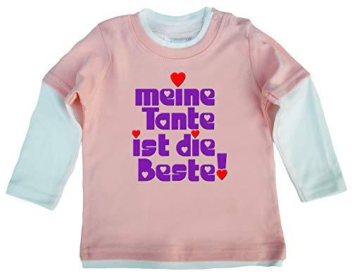 Dirty Fingers, Meine Tante ist die Beste!, Baby Skater Top langärmlig, 24-36m, Rosa-Weiβ