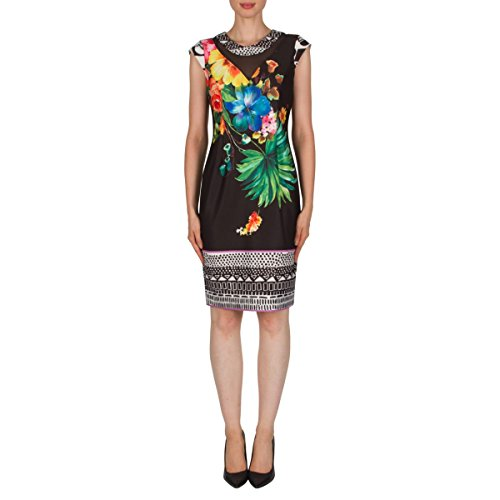 Joseph Ribkoff Tropical Floral Print Cap Sleeve Dress Style 181710