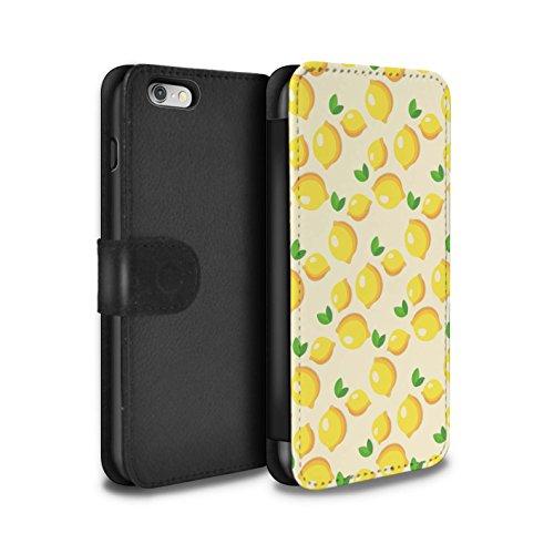 Stuff4 Coque/Etui/Housse Cuir PU Case/Cover pour Apple iPhone 6S / Coeurs D'été/Amour Design / Mode Jaune Collection Charmant Citrons