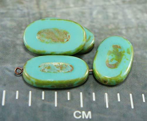 2pcs Grand Picasso Marron Turquoise Ovale et Plate de la Table de Coupe Sculptée Verre tchèque Perles de 26mm x 15mm