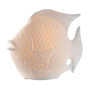 GILDE Lampe Fisch - Tischlampe aus Porzellan in weiß H 19 cm