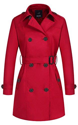 Wantdo Damen Mantel Zweireiher Lange Trenchcoat mit Gürtel Rot X-Large