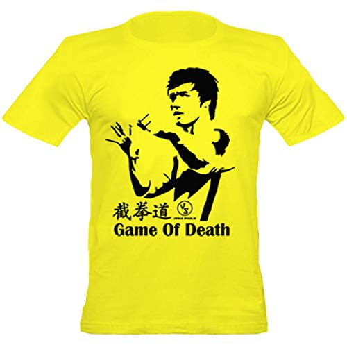 urban shaolin Men's Bruce Lee Game of Death Inspired Fitted T Shirt, Yellow