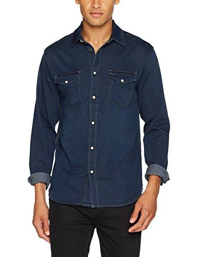 JACK & JONES Herren JJIETHAN JJSHIRT AKM 531 Indigo Knit Jeans Hemd, Blau (Blue Denim), X-Large
