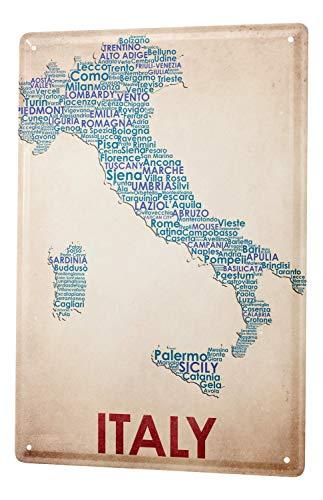 LEotiE SINCE 2004 Targhe Cartello Targa in Metallo Decorazione della Parete Giramondo Mappa di Italia