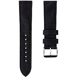 Bracelet de Montre Geckota® Sport en Nylon, Rembourré, Résistant, Qualité et Confort, Noir, 22mm