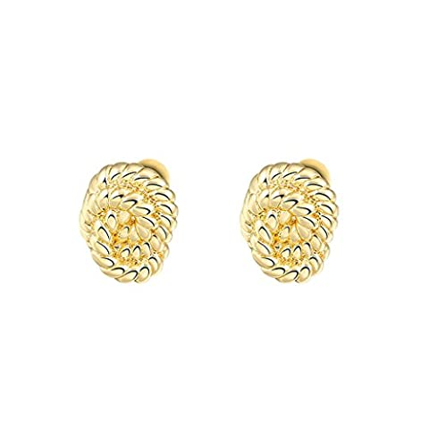 Bishilin Gold Plated Womens Stud Earrings Rope Strands Circular Gold Earrings for Women