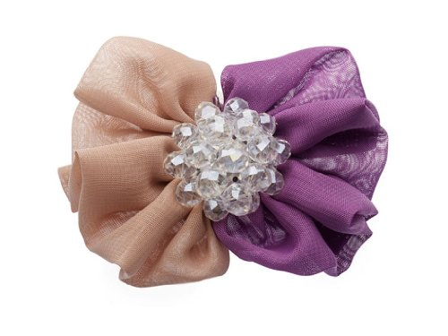 """La Loria - Donna Clip Decorative Per Scarpe """"Big Bling"""" Gioielli, Spille, le clip del pattino in colore viola-beige - 1 Coppia"""