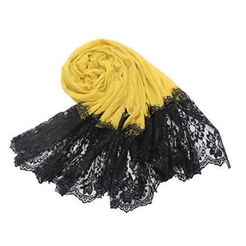 537bd98e063789 JJYHN Personalisierter Warmer Schal,Baumwoll- und schwarzer zweiköpfiger  schwarzer Spitzenperlenschal Einfarbiger Schal aus Seidenschal