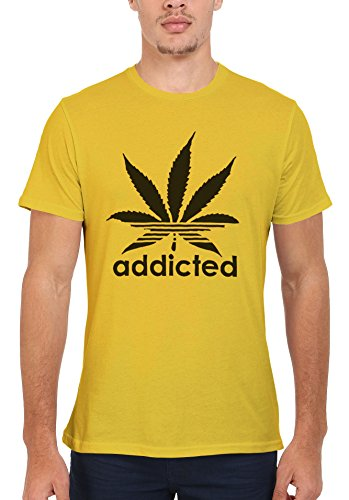 Addicted Cannabis Funky Cool Funny Men Women Damen Herren Unisex Top T Shirt Licht Gelb