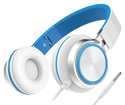 Auriculares, Audífonos Honstek Ligeros y Plegables, Auriculares cómodos con Cable estéreo para iPhone iPad Android Teléfonos celulares Computadoras Tabletas MP3/MP4 (White/Blue)