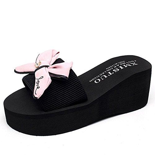 Sandals Femme Papillon Noeud Plage Pantoufles Été Big Bow Main Code Mot Glissement Plage Plat Glissière