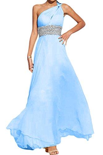 Gorgeous Bride Modisch Ein-Traeger Lang Empire Chiffon Abendkleider Festkleider Ballkleider Himmelblau
