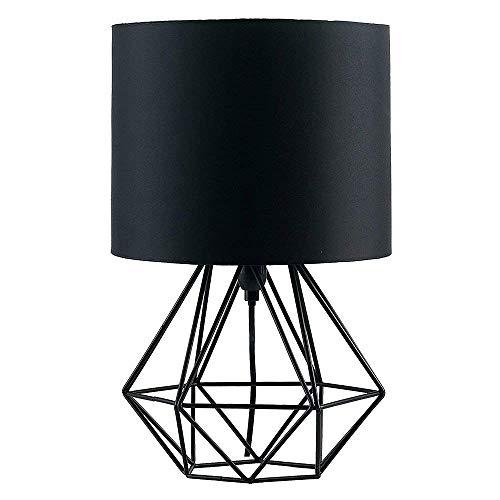 """Modern Industrielle Metall Vintage Tischlampen Schreibtischlampen - YIKEGE Angus Körbchenstil Stil Nachttisch-Leuchte 15,35\"""" Höhe Leselampe Arbeitsplatzlampe für Bedside Desk Bar, Schwarz"""