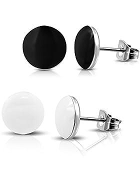 2 Paar Schwarze und Weiße Ohrstecker Ohrringe Edelstahl poliert 7mm für Damen, Herren und Jugendliche
