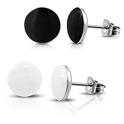 2 Paar Schwarze und Weiße Ohrstecker Ohrringe Edelstahl poliert 7mm für Damen, Herren und - Herren Rot Ohrstecker Ohrringe