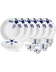 Larah by Borosil Morning Glory Silk Series Opalware Dinner Set, 19 Pieces, White