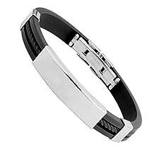 Lubier Bracelet en acier titane silicone Surface lisse Hommes Peut ajuster Simple et élégant