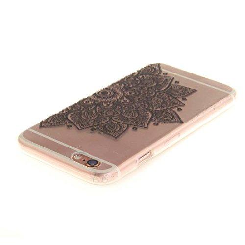 Pour Apple iPhone 6 6S 4.7 inch Coque Case de Protection Ultra Fine Transparente Flexible TPU Créatif Peinture Blanc Mandala color-3