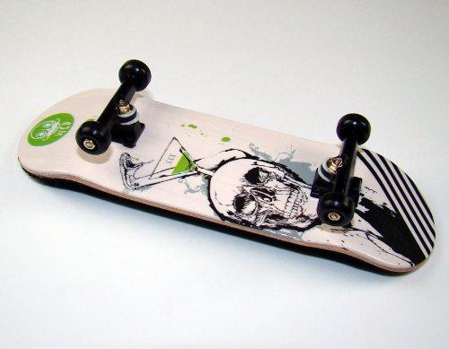 """Preisvergleich Produktbild KOMPLETT Fingerskateboard WORLD-CREATIVE #4""""XXX"""" Deck + Achsen SCHWARZ + FINAL-ROTATION PU Wheels SCHWARZ von FREEFINGERS Handmade Wood Fingerboard"""