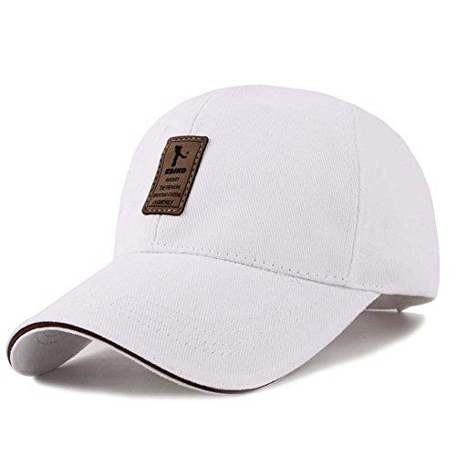 Gorra de béisbol ajustable de algodón de estilo vintage unisex para Deportes al aire libre (Blanco)