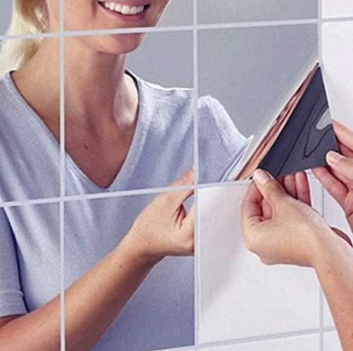 axuanyasi 18 Stück Spiegelfliesen Selbstklebend, Abgerundete Ecke Spiegel Aufkleber Wandspiegel Zum Wanddekoration (Silber, 15 x 15 cm) - Blätter Flexible Spiegel,