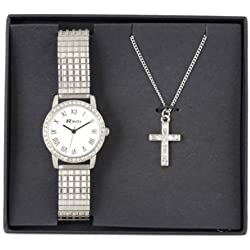 Ravel Watch and Necklace Crystal Cross Boxed Jewellery Set, Women's Quartz Watch with White Dial Analogue Display and Silver Stainless Steel Plated Bracelet RJS-002