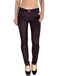 ESRA Damen Lederhose Damen Hose Skinny in Leder Optik Aktuelle Farben und  Designs H12 ba6844fd9d