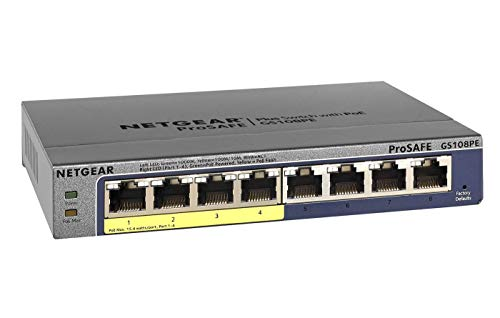 Netgear GS108PE-300EUS 8 Port ProSAFE Smart Managed Plus Gigabit Ethernet Switch (4 x PoE 53W)